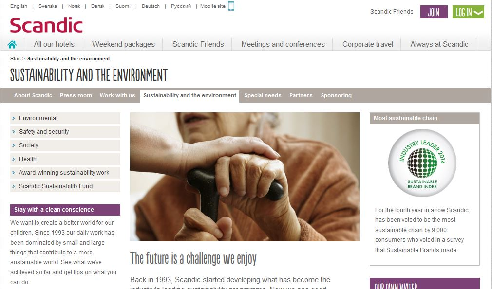 Captura web Scandic Hotels