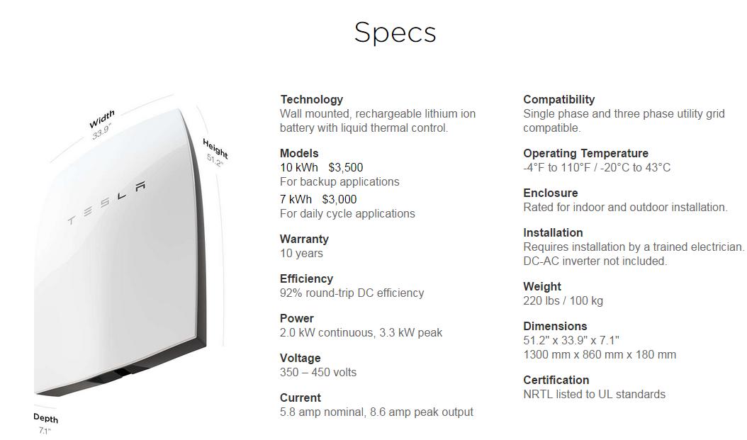 Especificaciones técnicas Tesla powerwall