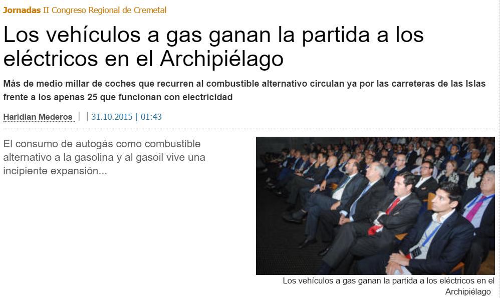 Titular en prensa de Gran Gran Canaria (La Provincia) sobre el presunto arrollador éxito del autogás sobre los vehículos eléctricos.