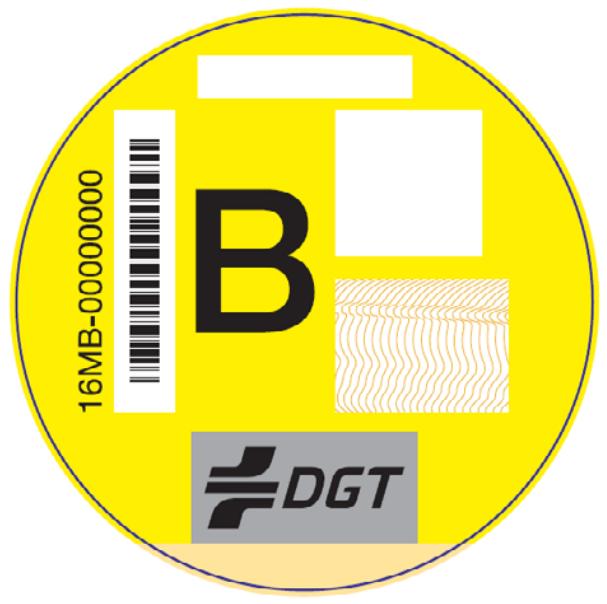 Distintivo de la DGT para vehículos tipo B