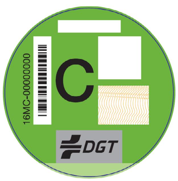 Distintivo de la DGT para vehículos tipo C